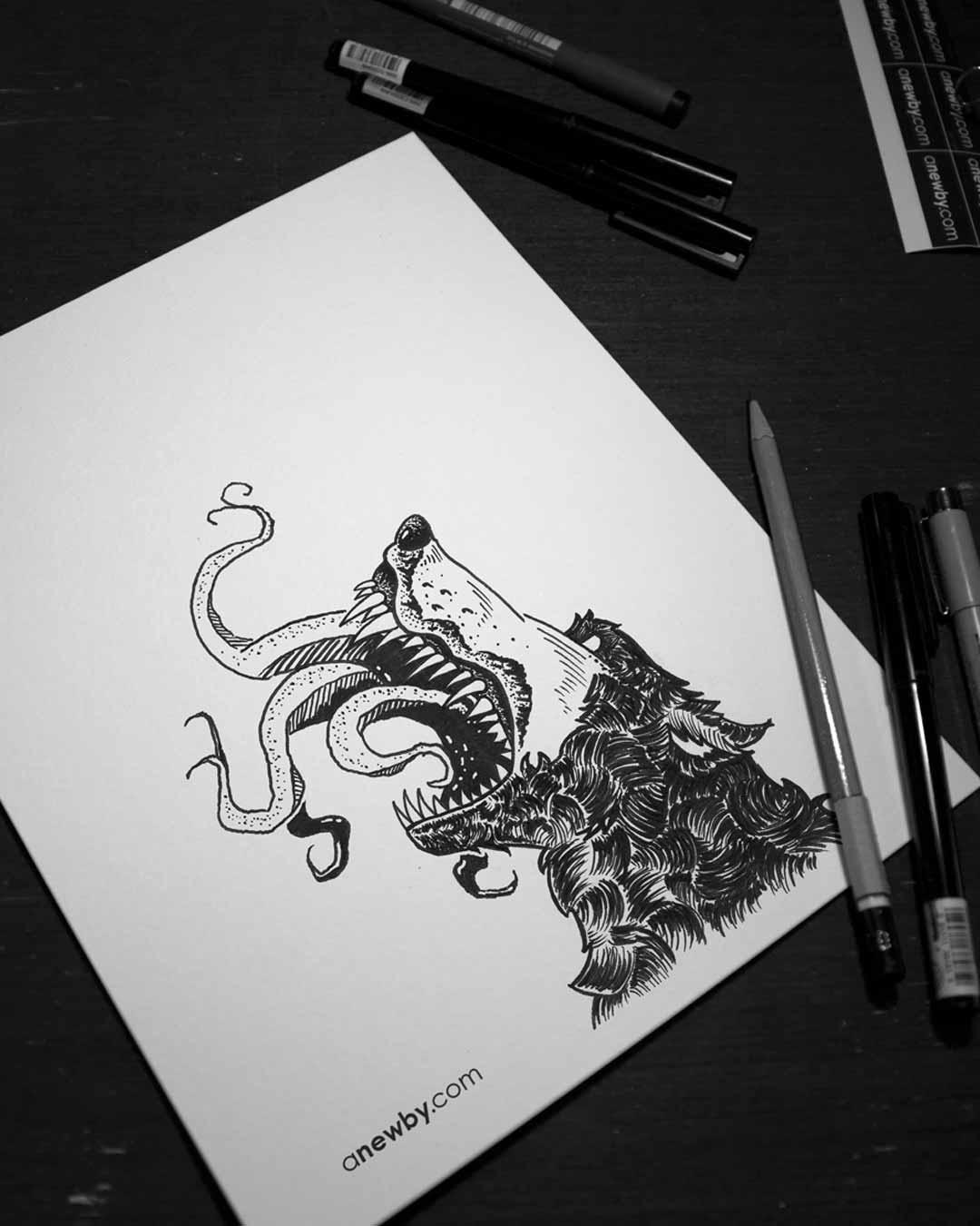 Bear Wolf Print 8x10