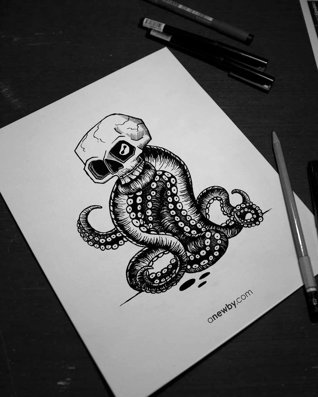 Octo Skull Print 8x10