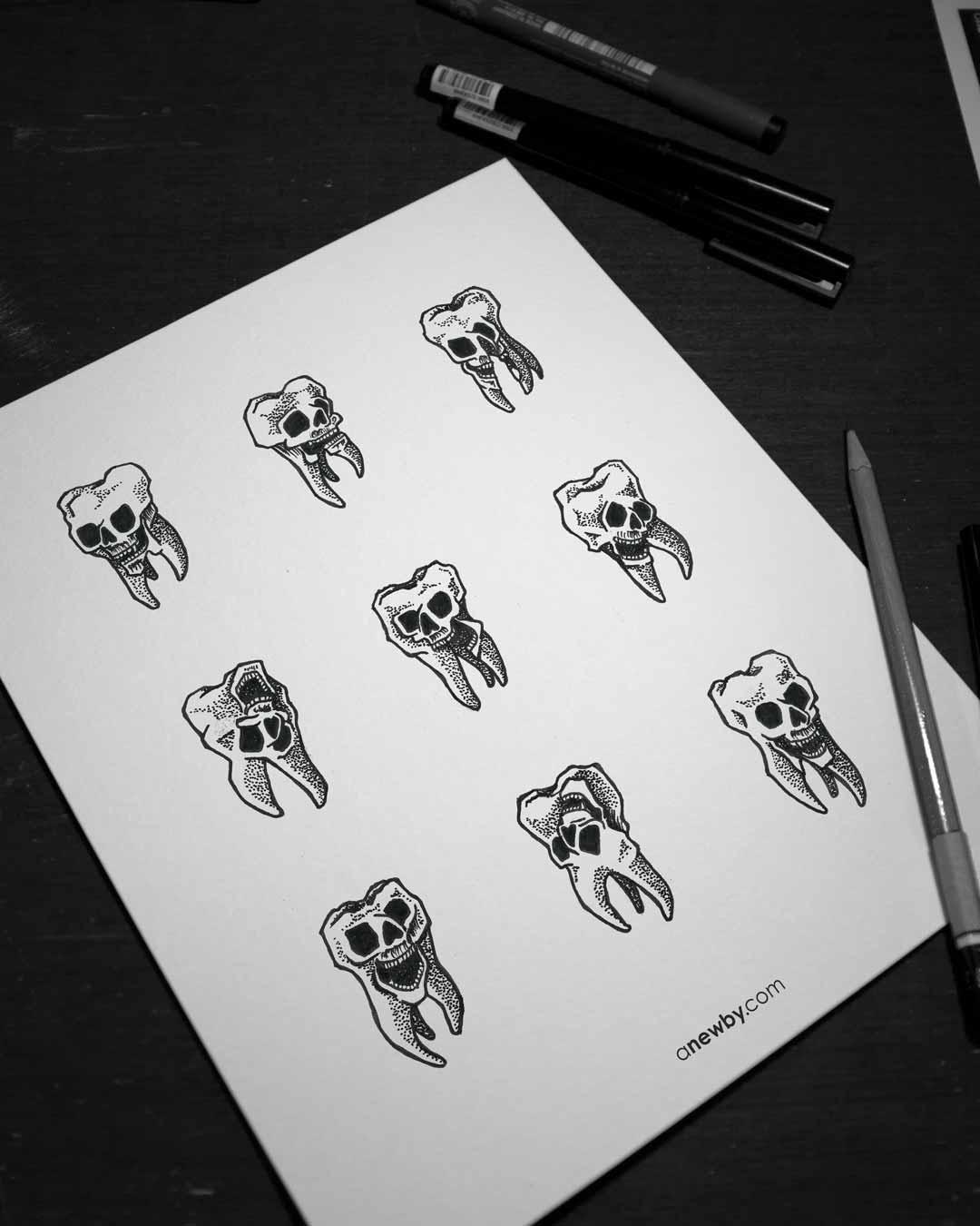 Skull Teeth Print 8x10