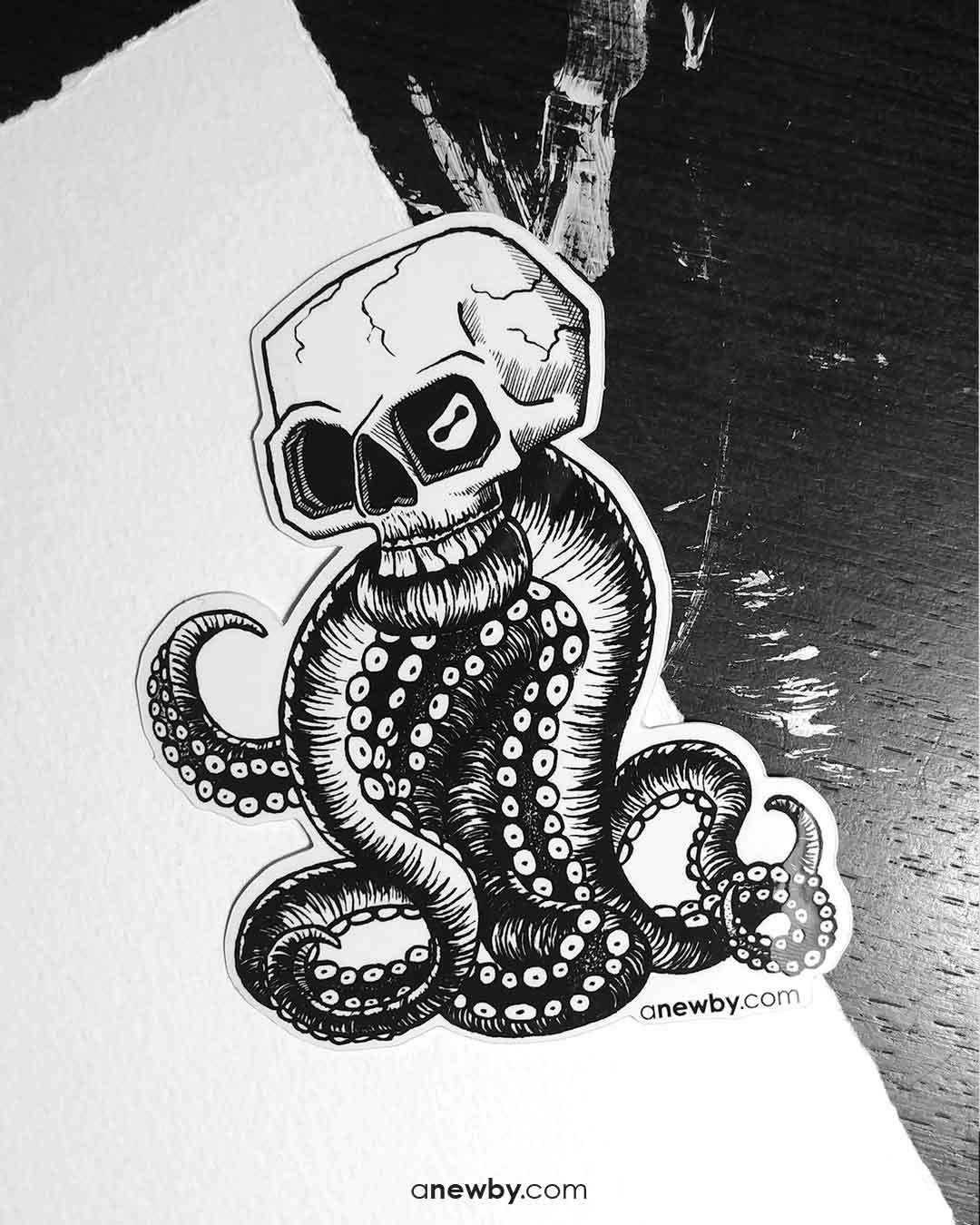 Octo-skull Sticker by Newby