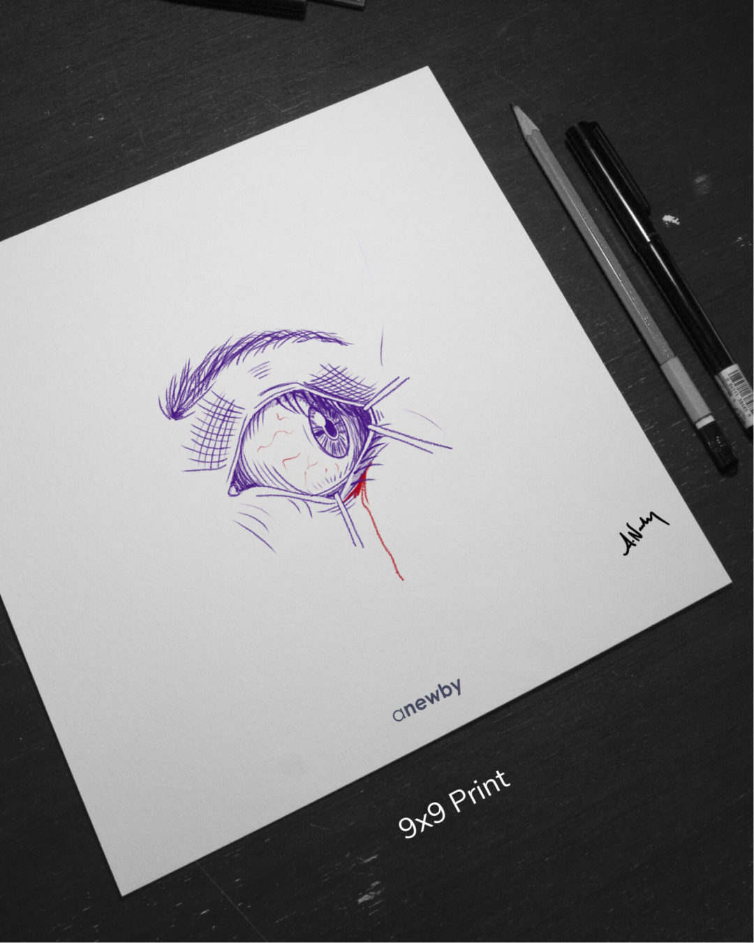 'Purple Eyeball' 9x9 Print