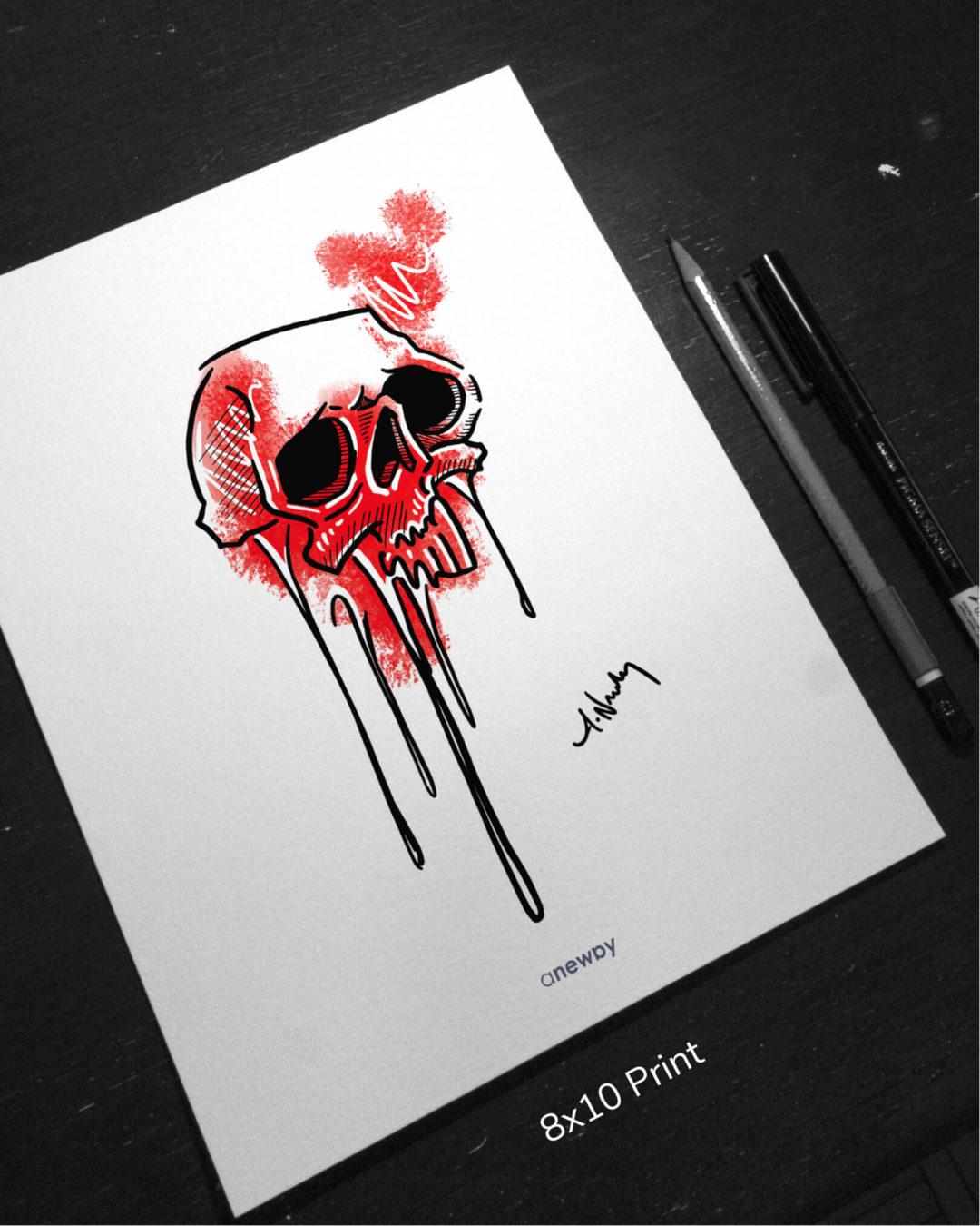 Skull Drips 8x10 Print - anewby